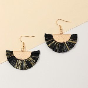 Boho Festival Fan Tassel Earrings Black